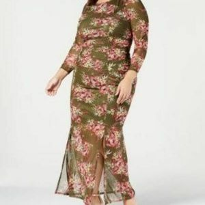NY Collection Womens 1X I6-03 Green Floral dress